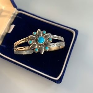 Vintage Nickel Silver Bell Turquoise Bracelet
